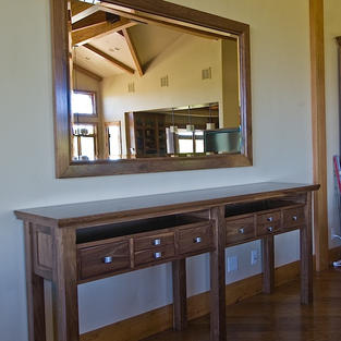 Walnut table and mirror