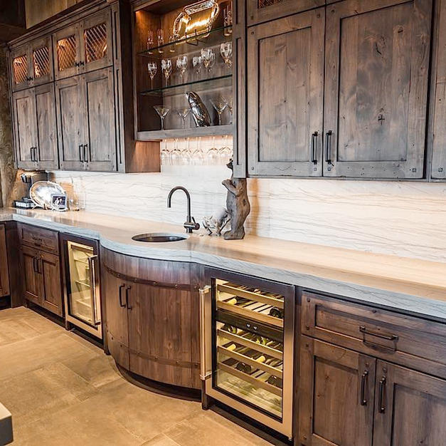 Wet Bar with Barrel front sink.