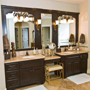 Classic vanity style with make-up desk.