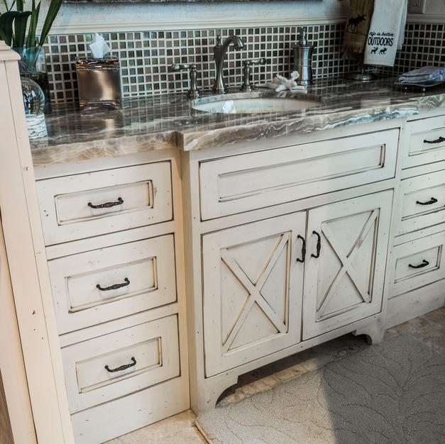 Inset vanity with a Ranch house feel.