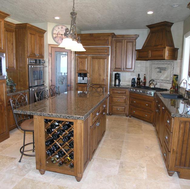 Cherry kitchen with wine rack