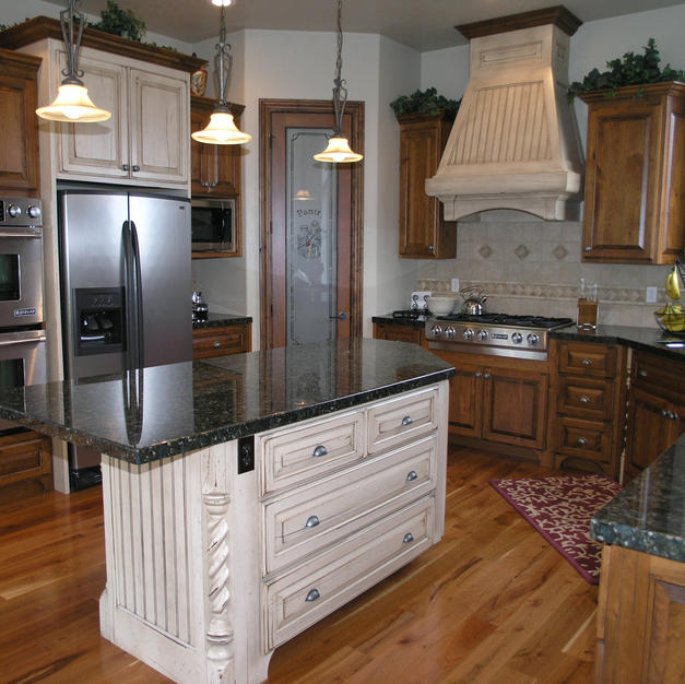 Cherry kitchen with turned post island