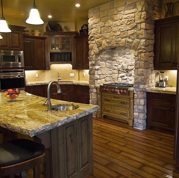 Wood and stone kitchen