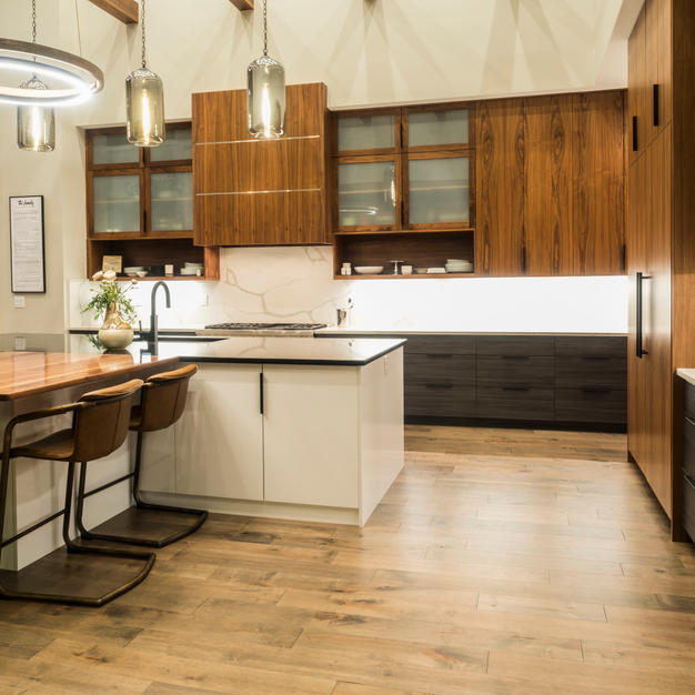 Walnut kitchen with custom dining table