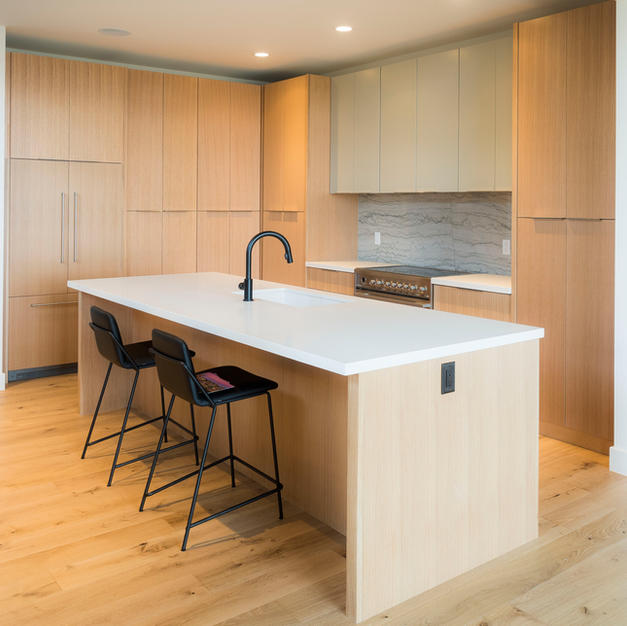 Contemporary grain matched kitchen