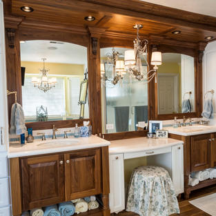 Walnut and white vanity with make-up desk.