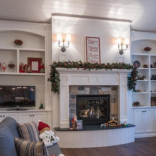 Built-in Bookcase and Fireplace
