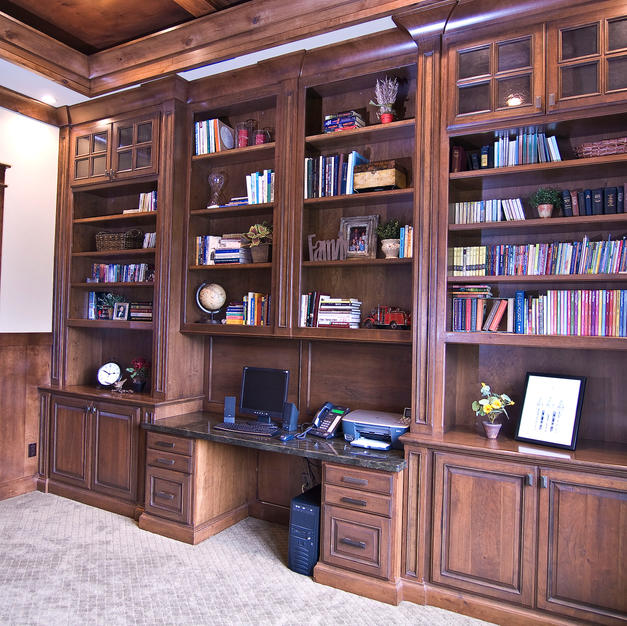 Cubby desk with bookcase surround