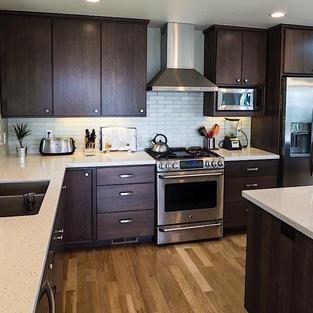 White oak kitchen stained dark
