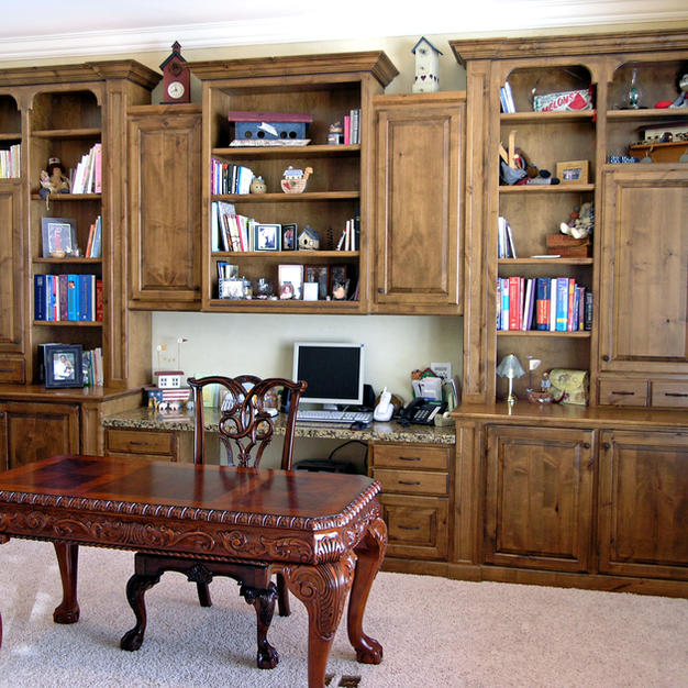 Desk and bookcases with arched frames