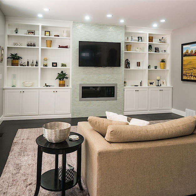 Built in white painted bookcases