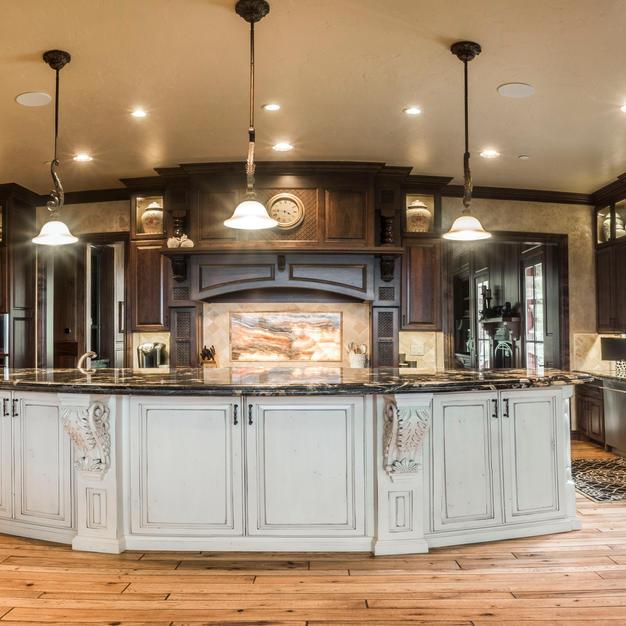 Cherry kitchen with Onyx backsplash