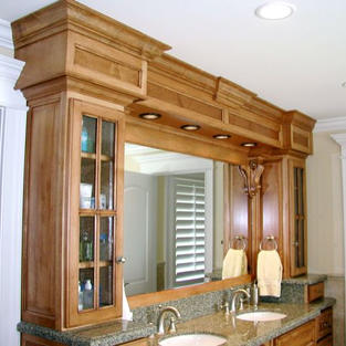 Double sink vanity with medicine cabinets.