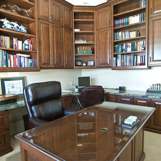 Bookcases with desk space