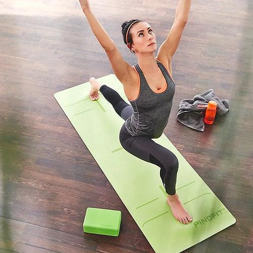 PINOFIT® Yogamatte mit Markierungen lime / grey