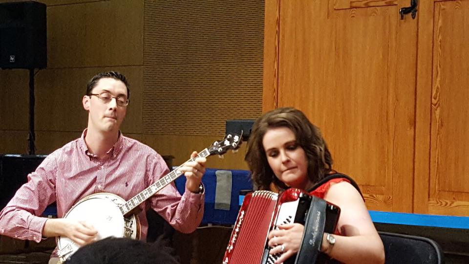 Adèle and Daithí perform at launch