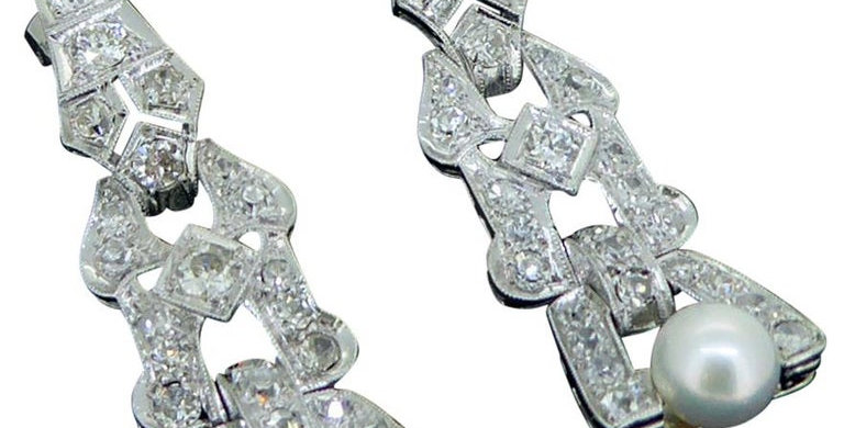 4.0 Carat Art Deco Diamond and Pearl Earrings, Platinum, Chandelier Drop Style