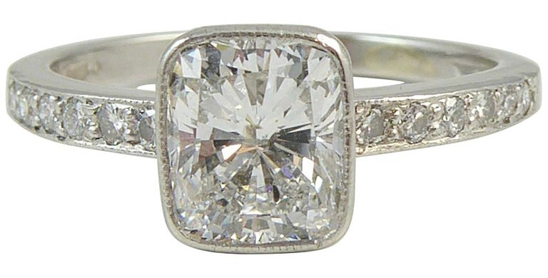 1.04 Carat Cushion Shaped Brilliant Cut Diamond Solitaire Ring, Platinum