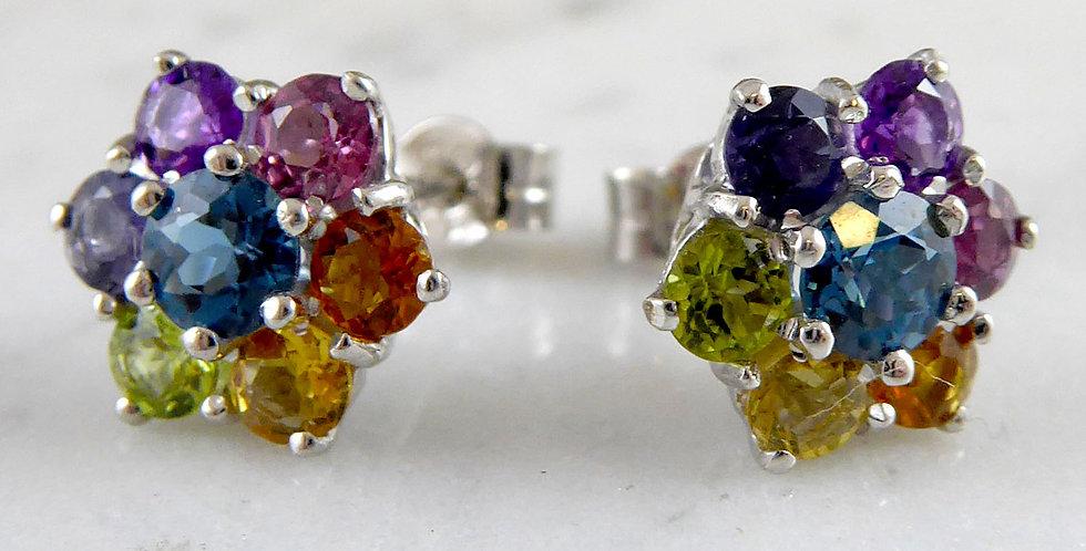 Vintage Multi Gemstone Earrings in White Gold, Floral Cluster Design