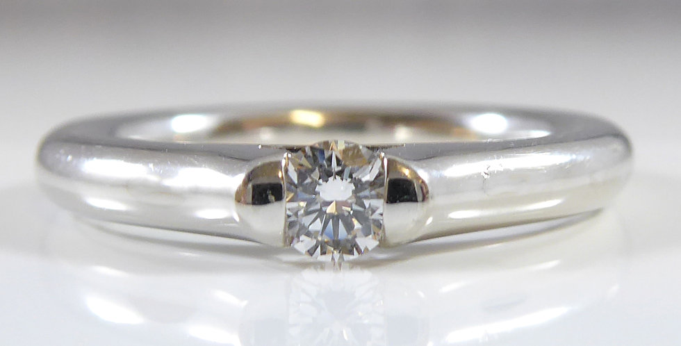Contemporary Solitaire Diamond Ring, D Flawless, Platinum Band