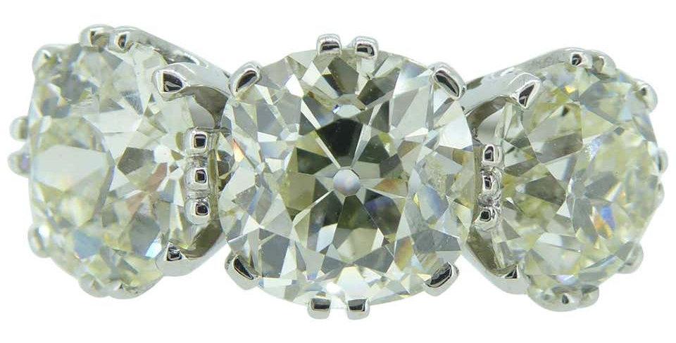 Victorian Old Cut Diamond Ring, 7.39 Carat, Remounted in Platinum Setting