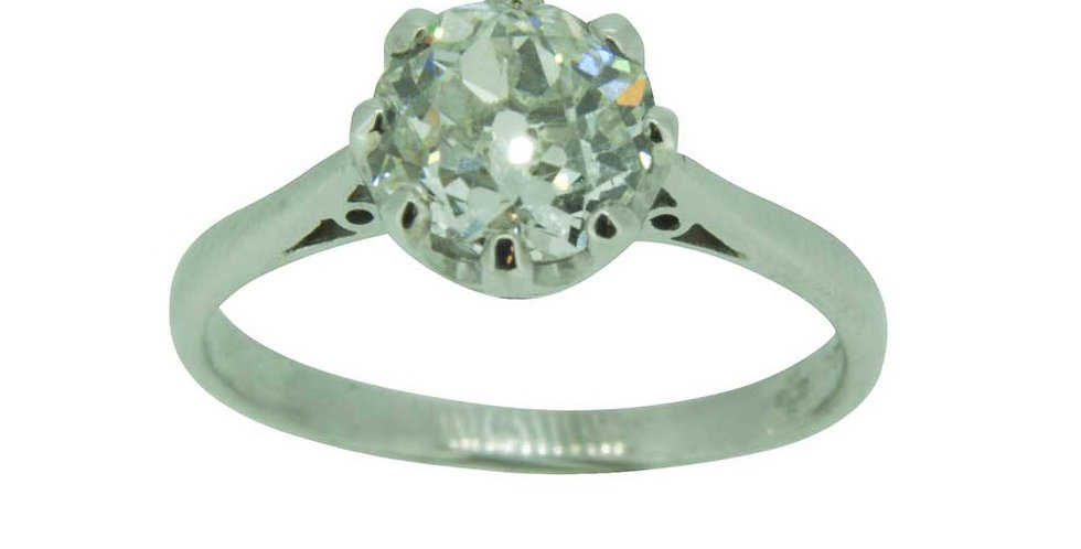Classic Diamond Solitaire Engagement Ring Old European Cut Diamond, VS2 Clarity,