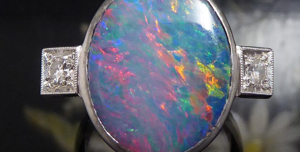 4.96 Carat Boulder Opal Ring with 0.16 Carat Diamond Set Shoulders,
