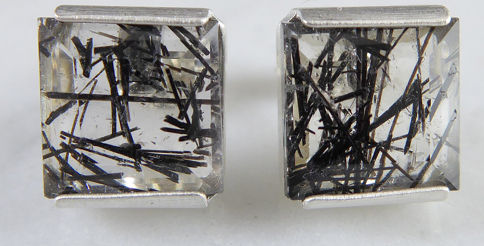 Contemporary Earrings with Rutilated Quartz and set in Sterling Silver
