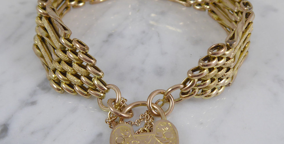 Antique Gold Gate Bracelet, Circa 1900s, Stamped 9ct