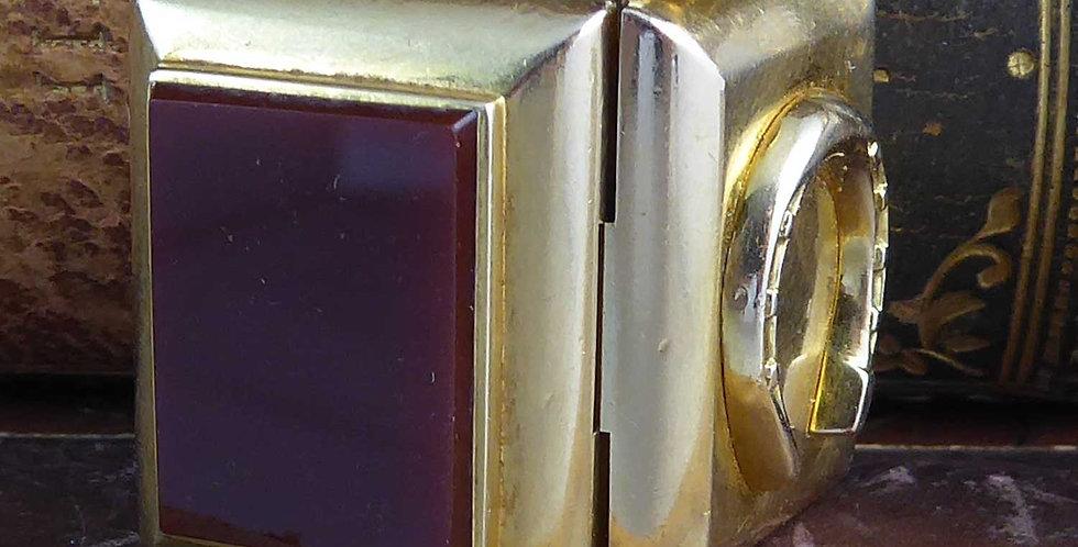 Antique Victorian Gold Locket, Horseshoe Cornelian, Yellow Gold Book Shape