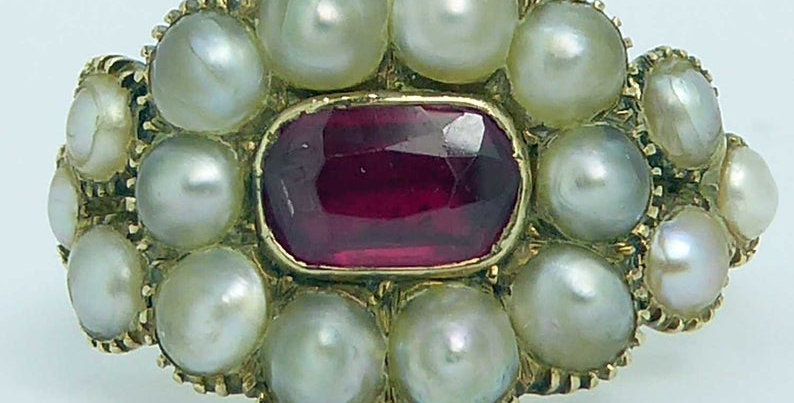 Antique ruby and pearl memorial ring in 15ct gold with engraved gold band