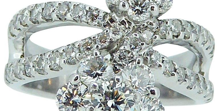 Circa 1970s 1.93 Carat Round Diamond Double Flower Cluster Ring
