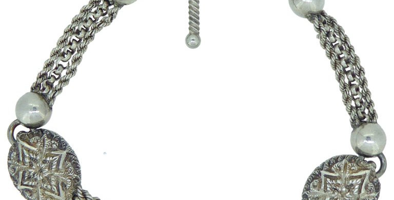 Antique silver watch chain bracelet with swivel clip and T bar
