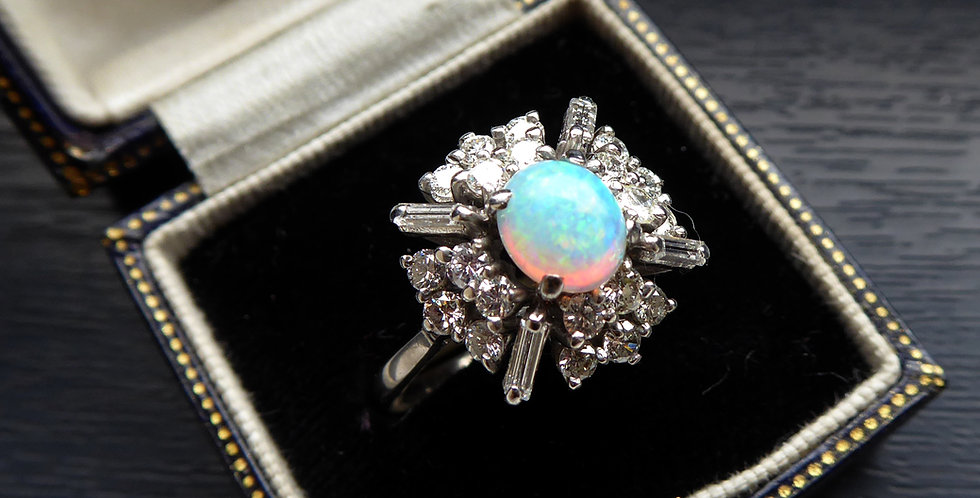 Vintage 0.64 Carat Opal and Diamond Cluster Ring, White Gold, Mid-20th Century