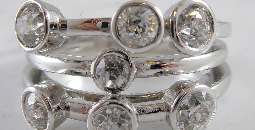 Pre-owned Bubble Ring, Old European Cut Diamonds, 1.36 Carat, White Gold