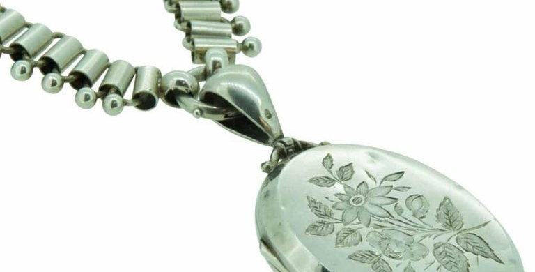 Victorian Antique Silver Locket and Necklace, Hallmarked Birmingham 1876
