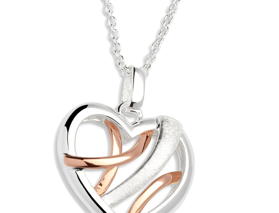 Silver and Rose Gold Colour Heart Shaped Necklace