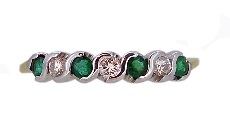 Vintage Emerald and Diamond Eternity Ring, 18 Carat Gold, circa 1990s