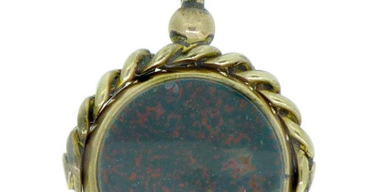 Antique Victorian Seal Spinner Fob, Cornelian and Bloodstone, Birmingham 1892