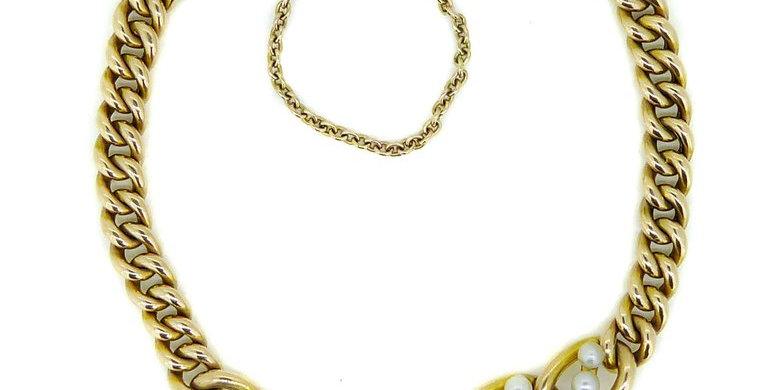 Antique Edwardian Pearl Bracelet, Yellow Gold Curb Links, 15 Carat
