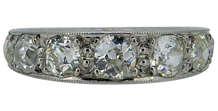 Vintage 1.85 Carat Diamond Eternity Ring, circa 1930s-1940s, Platinum