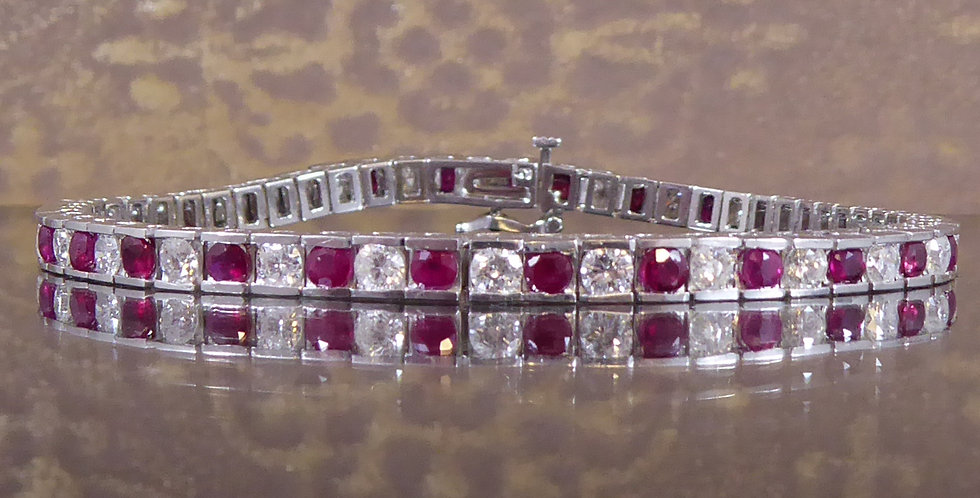 Modern Vintage Ruby and Diamond Tennis Bracelet in 18ct White Gold