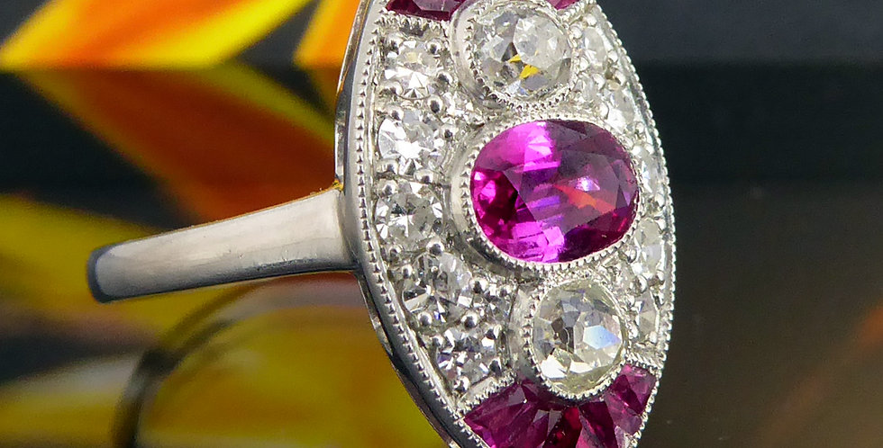 1930's Art Deco Ruby and Diamond Ring, Old European Cut, Marquise Shaped Setting