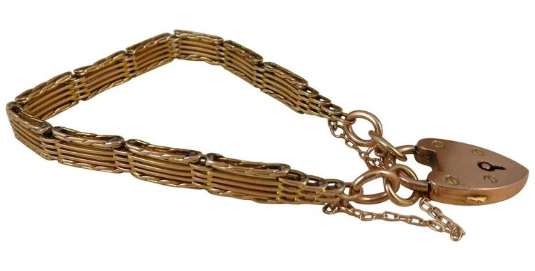 Antique Gold Gate Bracelet, Victorian, circa 1900