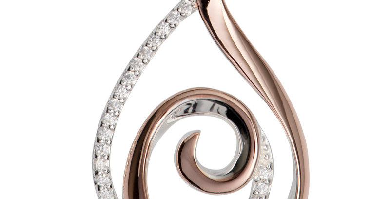 Double Swirl Silver, Rose Gold Coloured Silver and CZ Pendant on Chain