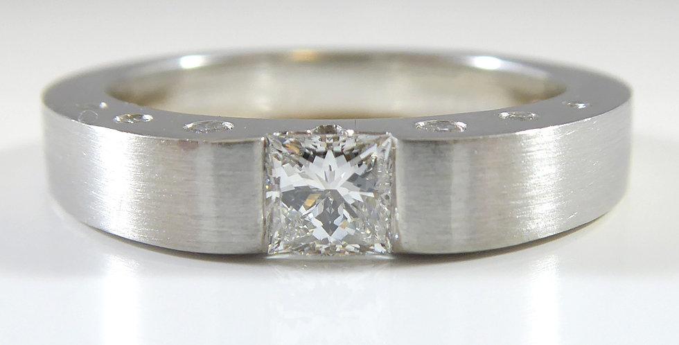 Princess Cut Diamond Solitaire Ring with Diamond Set Band, Platinum