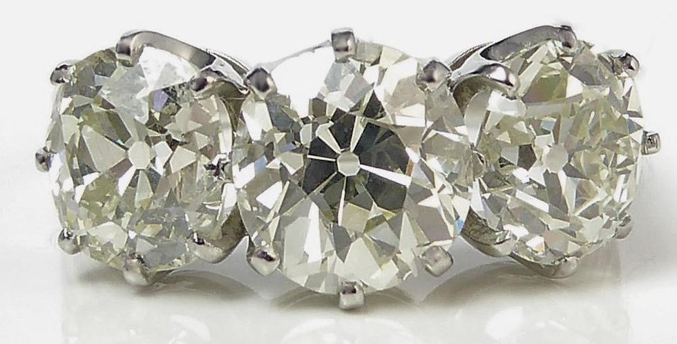 Vintage Old Cushion Cut Diamond Ring, 4.14ct, Circa 1930s, French