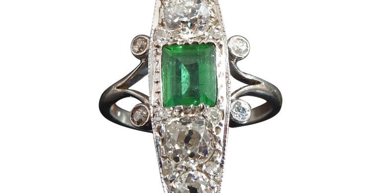 Marquise Shaped Art Deco Emerald and Diamond Ring set with Old Cut Diamonds