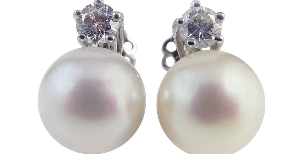 Vintage Earrings, Cultured Pearl and Diamond Studs, White Gold