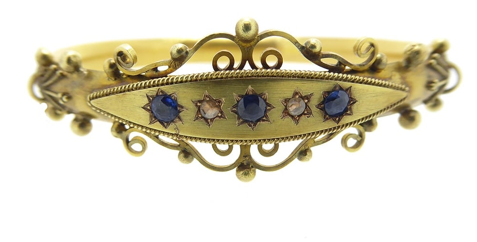 Antique Victorian Sapphire and Diamond Bangle, c.1890